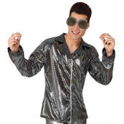 Déguisements, Chemise disco argent brillant M/L, 13295, 19,90€