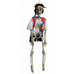 Squelette hippie à suspendre 42 cm Déco festive 9026
