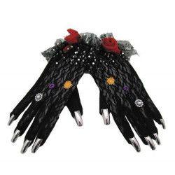Accessoires de fête, Gants dentelle noire day of the dead, 90268, 8,90€