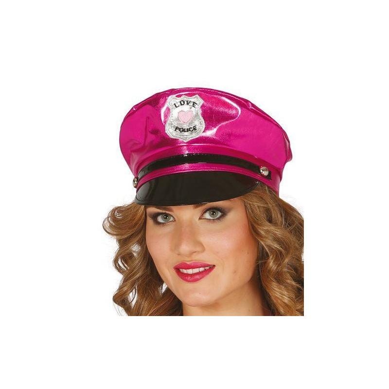 Casquette policière fuchsia adulte Accessoires de fête 13359