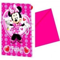 Déco festive, Cartes d'invitation Minnie avec enveloppes x 6, 92039, 2,90€