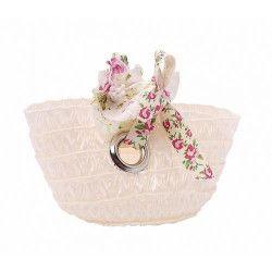 Petit panier blanc avec anneaux Déco festive 92856