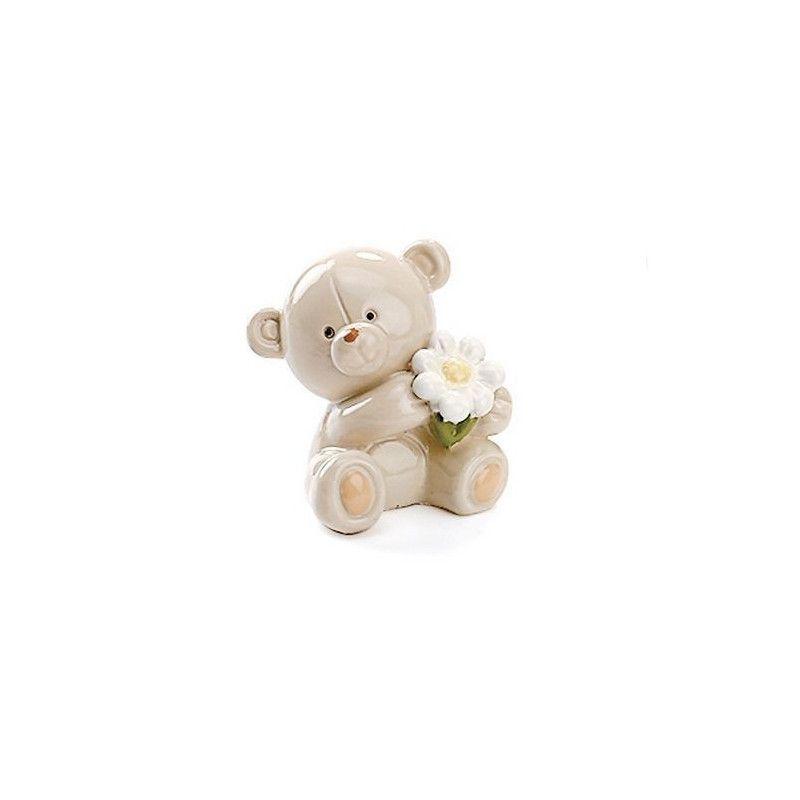 Bibelot ourson Noé en résine avec fleur Déco festive 93060