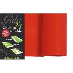 Déco festive, Chemin de table prédécoupé intissé rouge, 95732, 2,90€