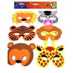 Accessoires de fête, Masque en mousse thème zoo en lot de 6, 13519-LOT, 4,50€
