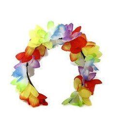 Accessoires de fête, Serre- tête hawai avec fleurs, 96356, 1,00€