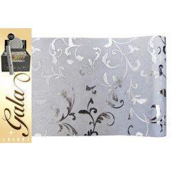 Déco festive, Chemin de table intissé blanc déco feuilles, 97583, 4,90€