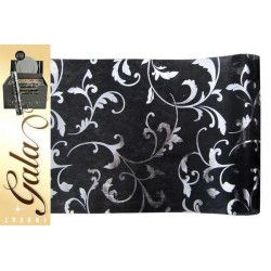 Déco festive, Chemin de table intissé noir déco feuilles, 97613, 4,90€
