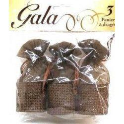 Déco festive, 3 paniers à dragées chocolat, 98030, 1,64€