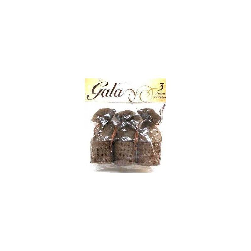3 paniers à dragées chocolat Déco festive 98030