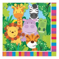 Décoration festive, Serviettes papier x 20 Animaux de la Jungle 33 cm, 9901915, 2,50 €