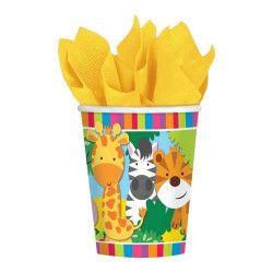 Lot 8 gobelets carton Animaux de la Jungle Déco festive 9901917