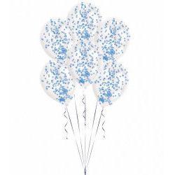 Sachet 6 ballons latex transparent avec confettis bleus Déco festive 9903278