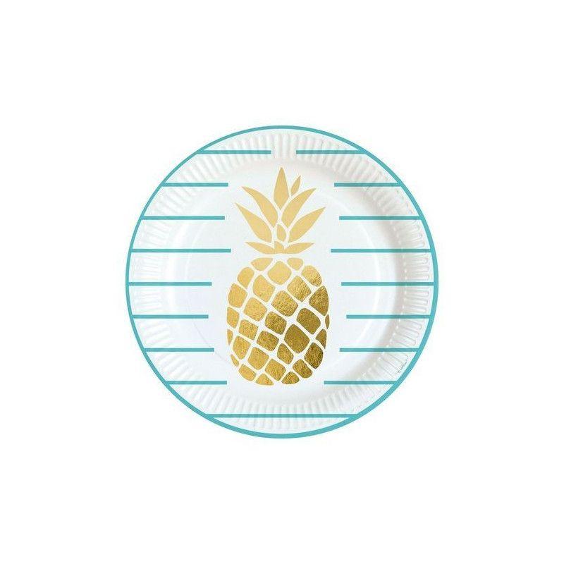 Lot 8 assiettes Ananas 23 cm Déco festive 9903307