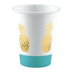 Lot 8 gobelets ananas 25 cl Déco festive 9903309