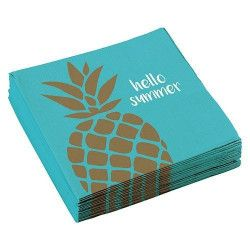 Lot 20 serviettes papier ananas 33 cm Déco festive 9903310