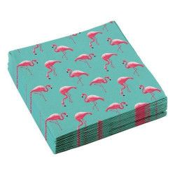 Lot 20 serviettes papier flamant rose 33 cm Déco festive 9903328
