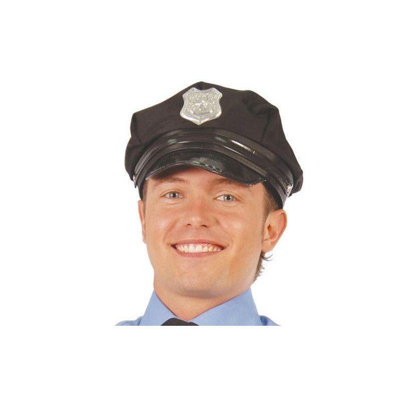Casquette noire de policier adulte Accessoires de fête 13714