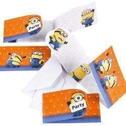 Déco festive, Cartes invitation avec enveloppes Minions™ x 6, 997978, 2,90€