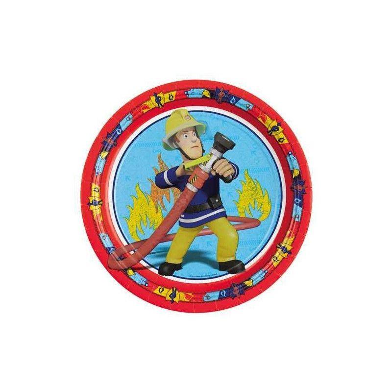 Déco festive, Assiettes jetables Sam le pompier x 8 Ø 23 cm, 998149, 3,49€