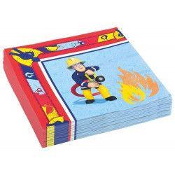 Serviettes papier x 20 Sam le pompier 33 cm Déco festive 998152
