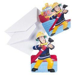 Déco festive, Cartes invitation anniversaire Sam le pompier x 8, 998157, 4,20€