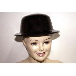 Accessoires de fête, Chapeau melon plastique noir, AN001344, 1,30€