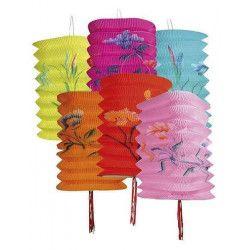 Lot de 12 lampions cylindriques motifs chine Déco festive B30422