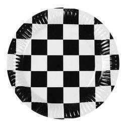 Set 6 assiettes Formule 1 damier 23 cm Déco festive B44752
