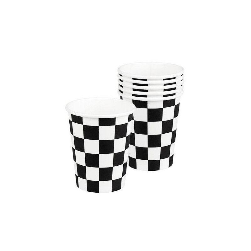 Set 6 gobelets jetables Formule 1 damier Déco festive B44753