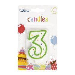 Bougie anniversaire chiffre 3 Déco festive B63403