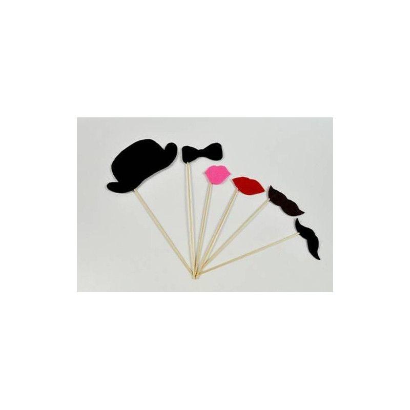 Accessoires de fête, Kit photobooth 12 pièces, 1402, 3,90€