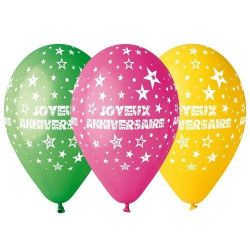 Déco festive, Sachet 10 ballons joyeux anniversaire multicolores diamètre 30 cm, BA19802, 3,90€