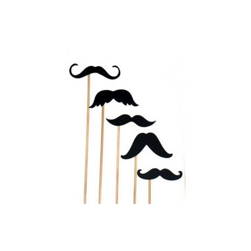 Accessoires de fête, Kit photobooth 6 moustaches assorties, 1403, 2,20€