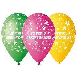 Sachet 50 ballons Joyeux Anniversaire multicolores 30 cm Déco festive BA19833
