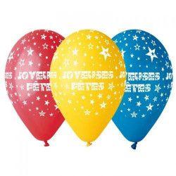 Déco festive, Sachet 10 ballons Joyeuses Fêtes multicolores diamètre 30 cm , BA19874, 3,90€