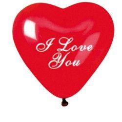 Déco festive, Sachet 4 ballons coeur rouge I love you diamètre 30 cm, BA19986, 2,30€