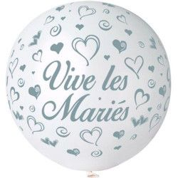 Ballon géant rond blanc Vive les Mariés 80 cm Déco festive BA21410-BLANC