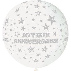 Déco festive, Ballon géant rond blanc Joyeux Anniversaire 80 cm, BA21420-BLANC, 4,70€