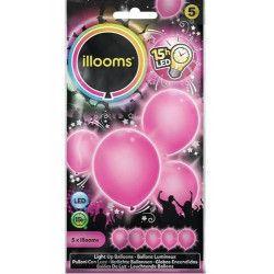 Ballons unis à led roses x 5