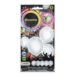 Ballons unis à led blancs x 5