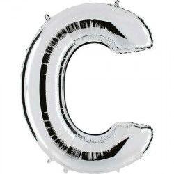 Ballon mylar argent 102 cm - Lettre C Déco festive BA23028