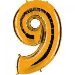 Ballon mylar métallisé or 102 cm - Chiffre 9 Déco festive BA23109