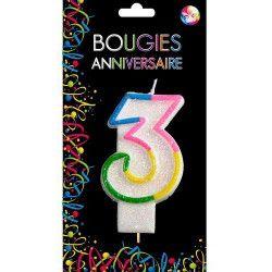 Déco festive, Bougie anniversaire chiffre 3, BG22523, 0,99€