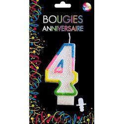 Déco festive, Bougie anniversaire chiffre 4, BG22524, 0,99€