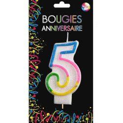 Bougie anniversaire chiffre 5 Déco festive BG22525