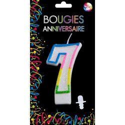 Déco festive, Bougie anniversaire chiffre 7, BG22527, 0,99€