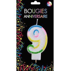 Bougie anniversaire chiffre 9 Déco festive BG22529