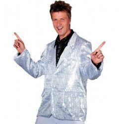 Veste disco paillettes argent homme taille 52 Déguisements C4041T52