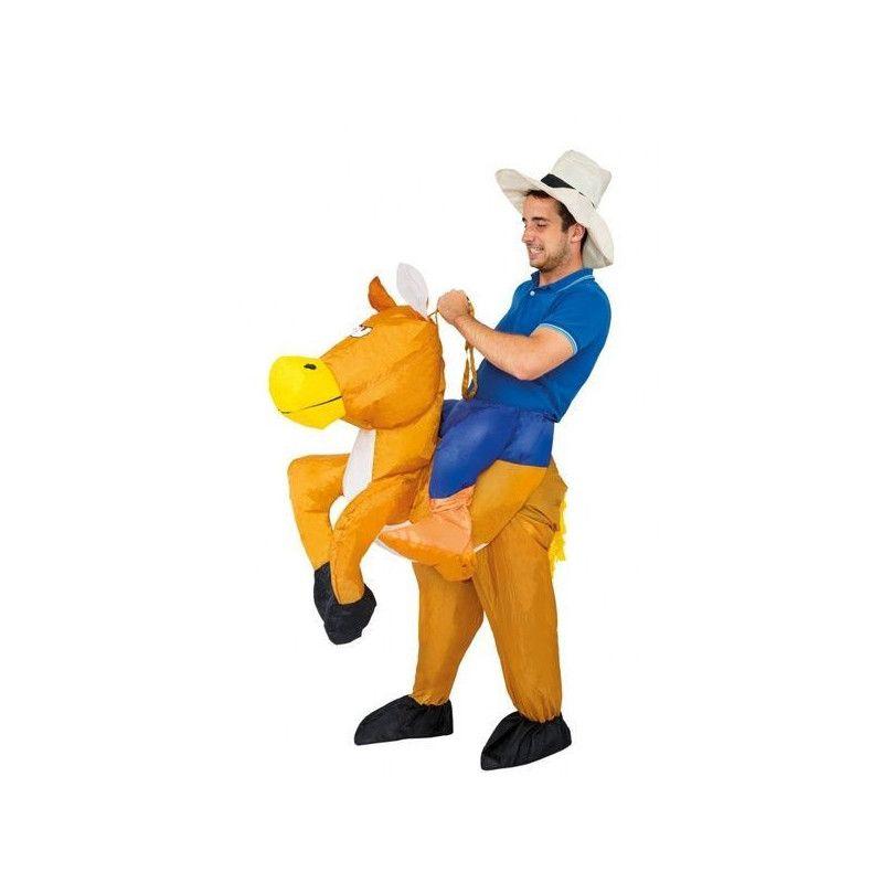 Déguisements, Déguisement cowboy à cheval gonflable adulte taille unique, C4219, 35,50€